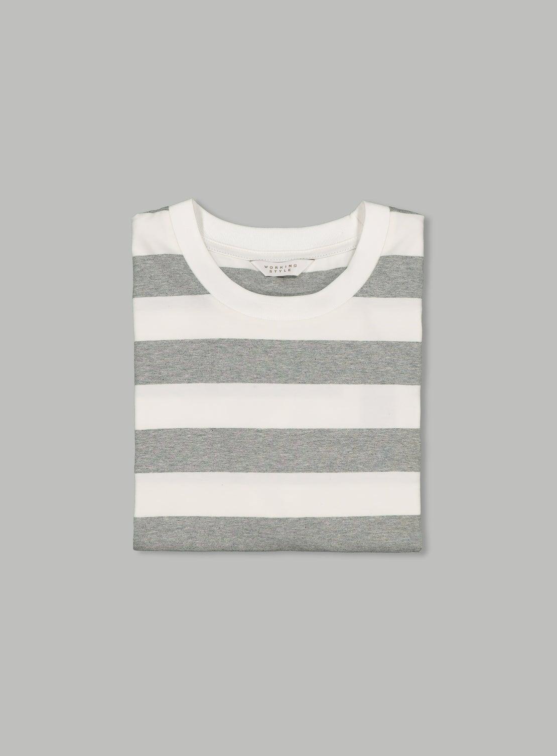 Donny Grey & White Wide Stripe Tee