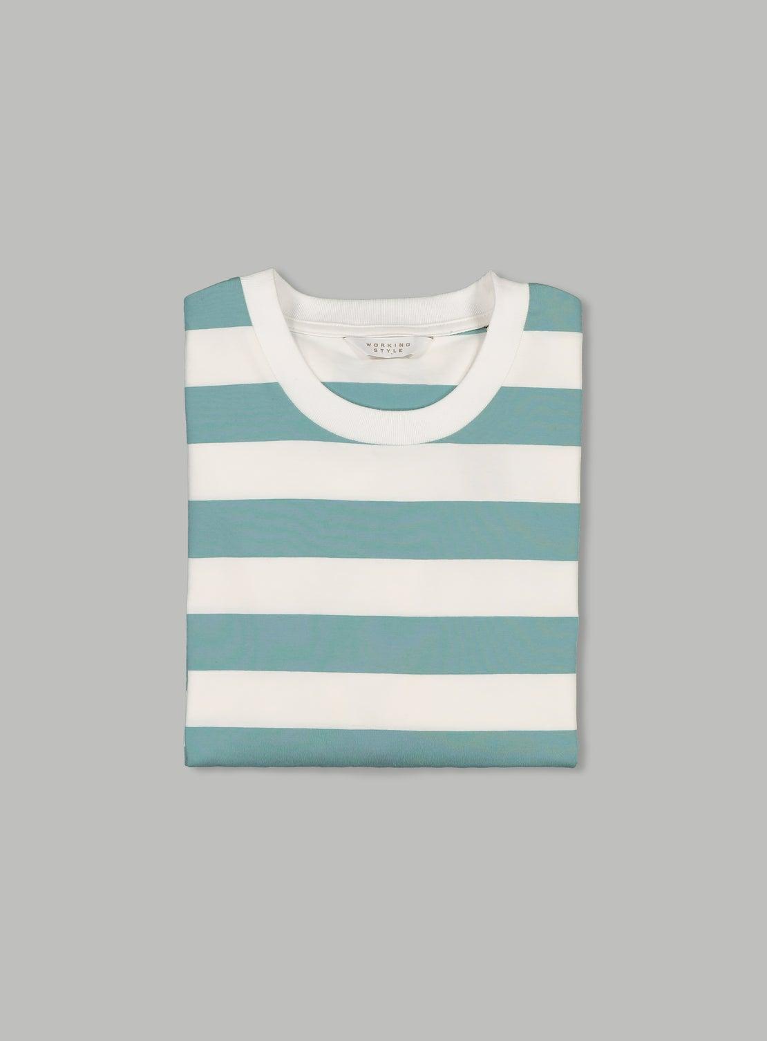 Donny Teal & White Wide Stripe T-Shirt