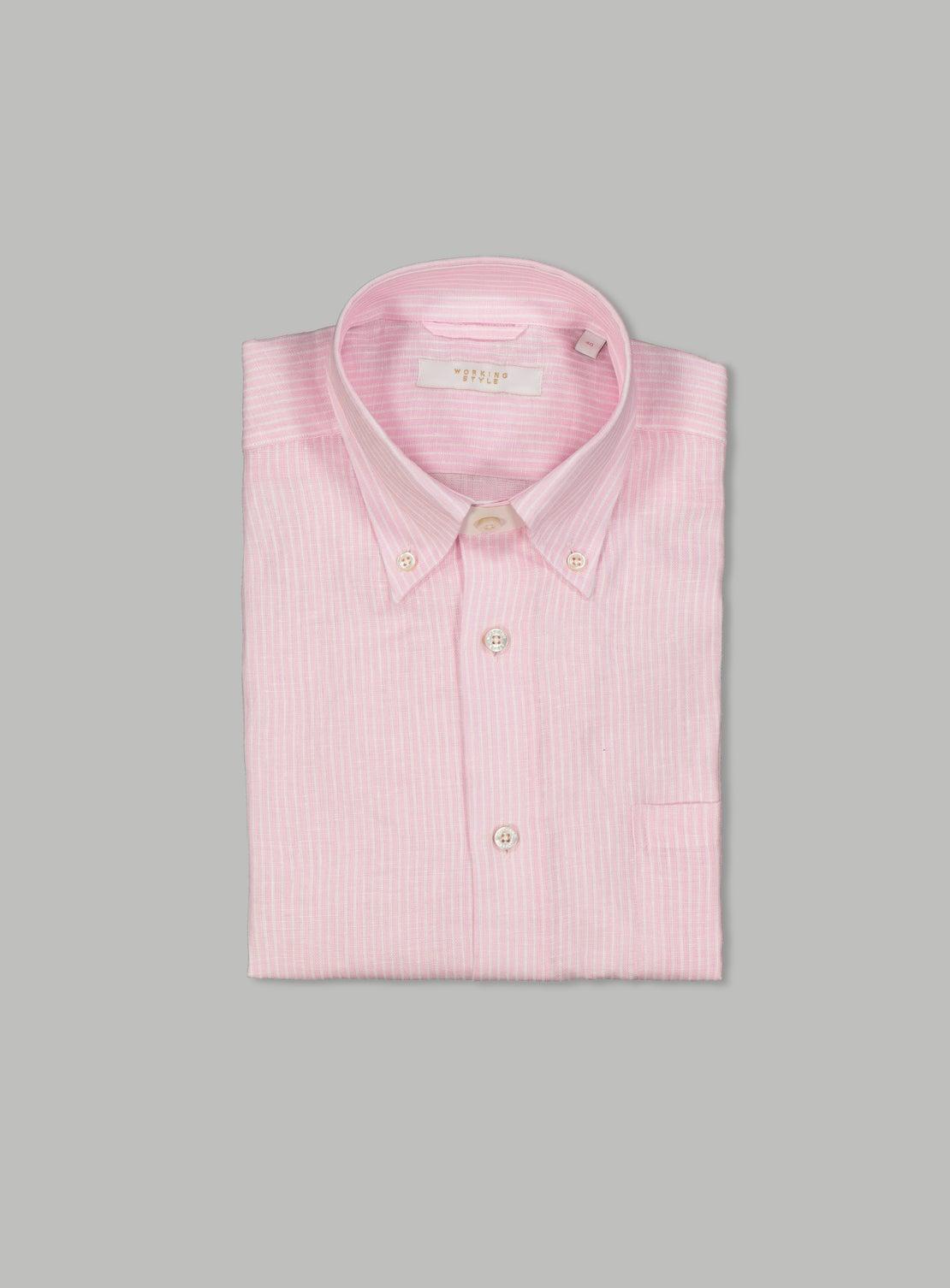 Dusan red Linen Pinstripe Shirt