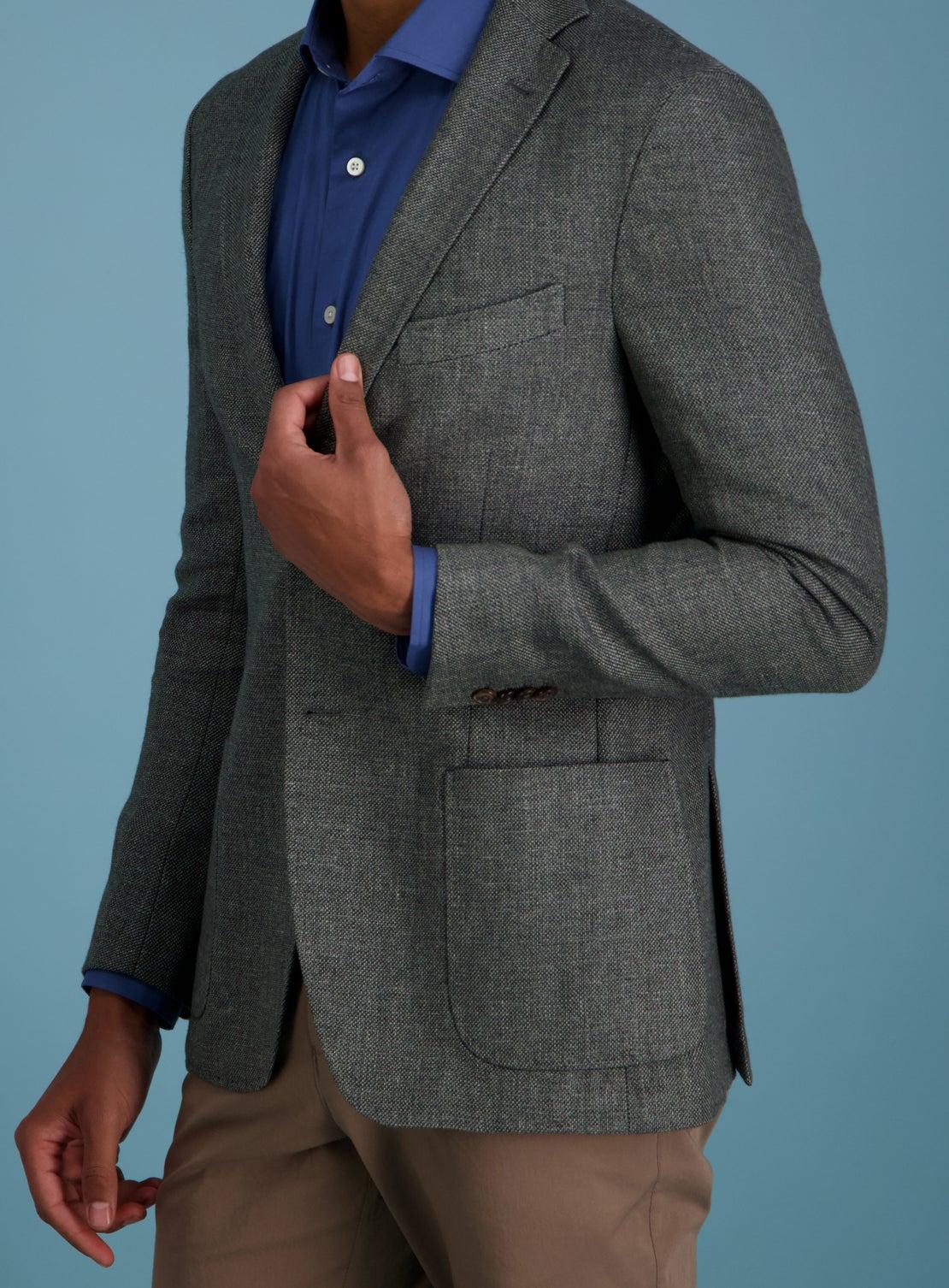 Evora Charcoal Textured Jacket