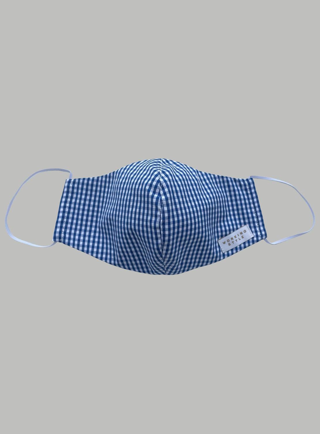 Face Mask - Blue Gingham Cotton