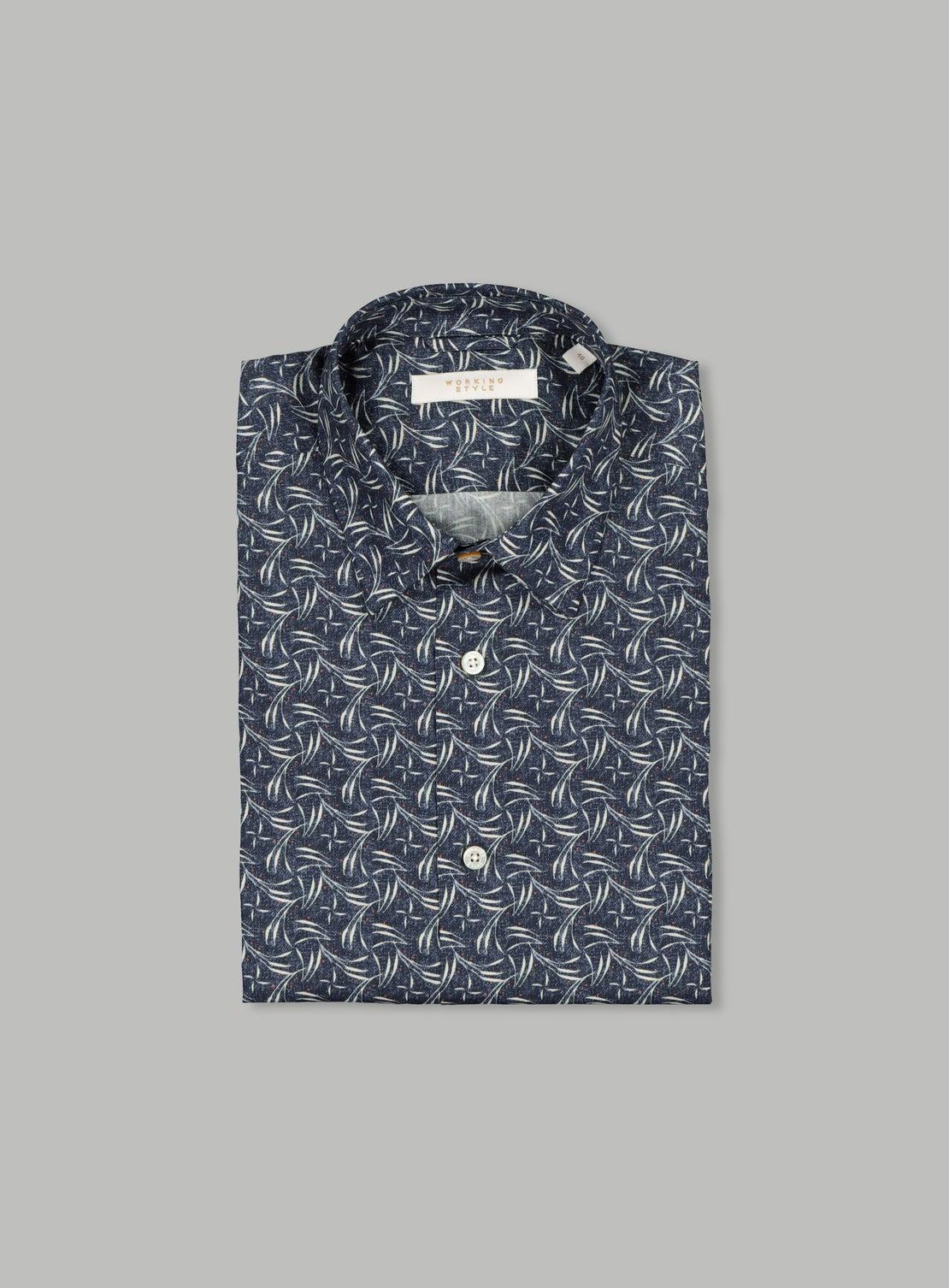 Farena Navy Leaf Shirt
