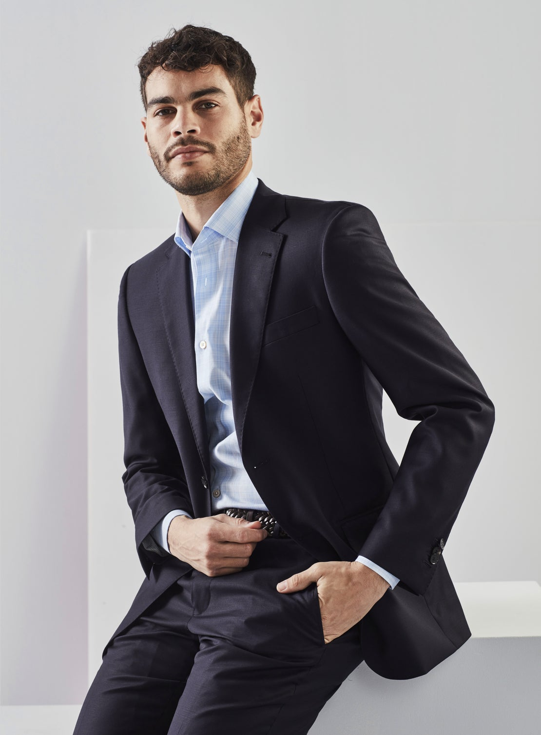 Felix Navy Blue Worsted Suit