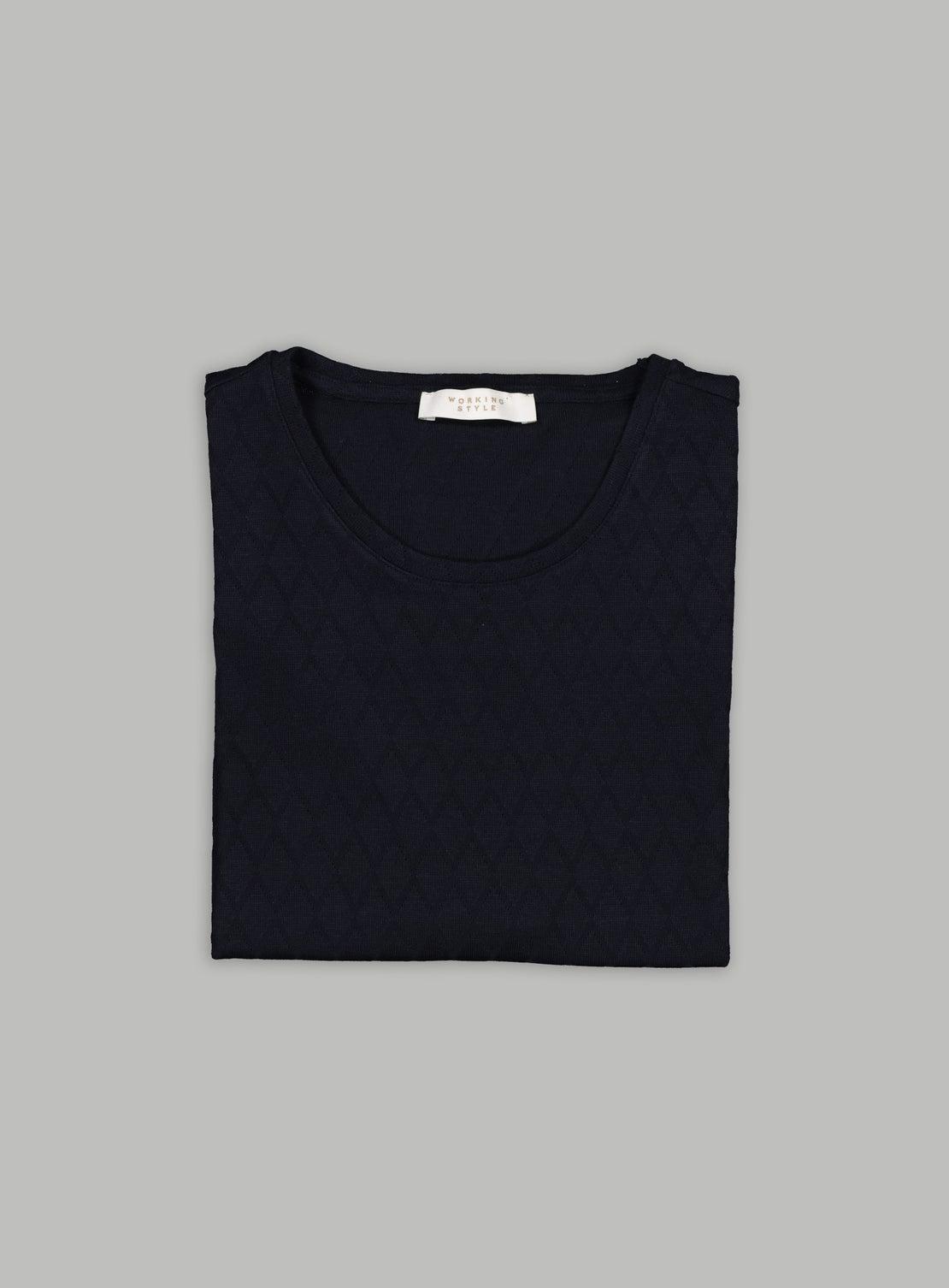 Florian Navy Diamond Knitted T-Shirt