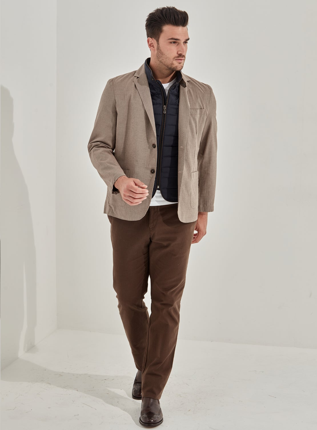 Foster Tan Houndstooth Jacket