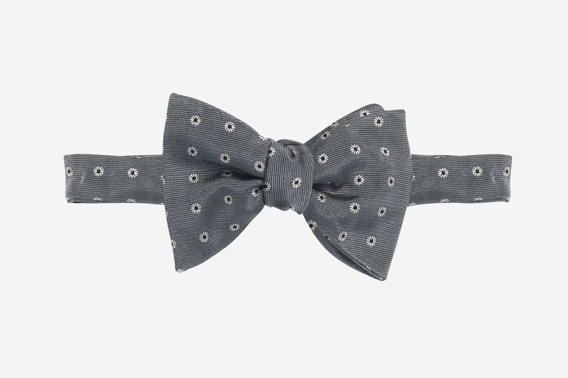 Graphite Grey Twill with Silver and Black Micro Floral Bowtie