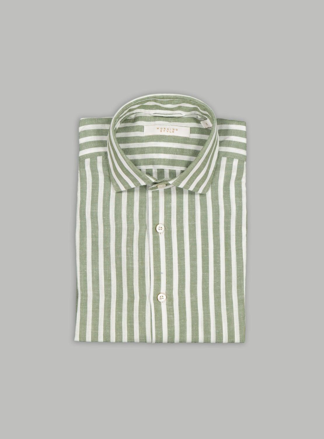 Green Linen Bengal Stripe Shirt