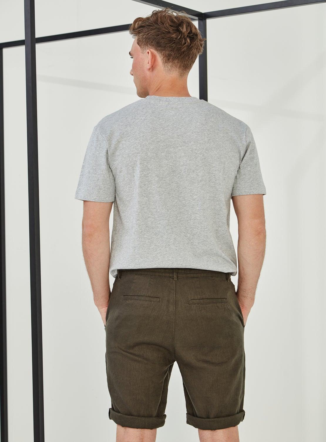 Green Linen Drawstring Short