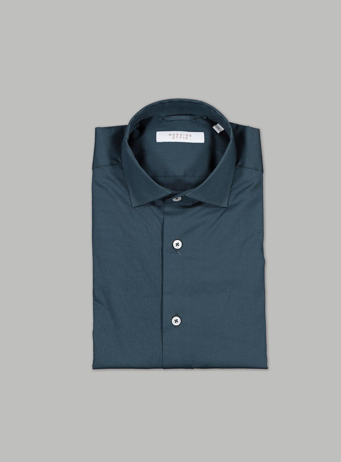 Green Stretch Poplin Shirt