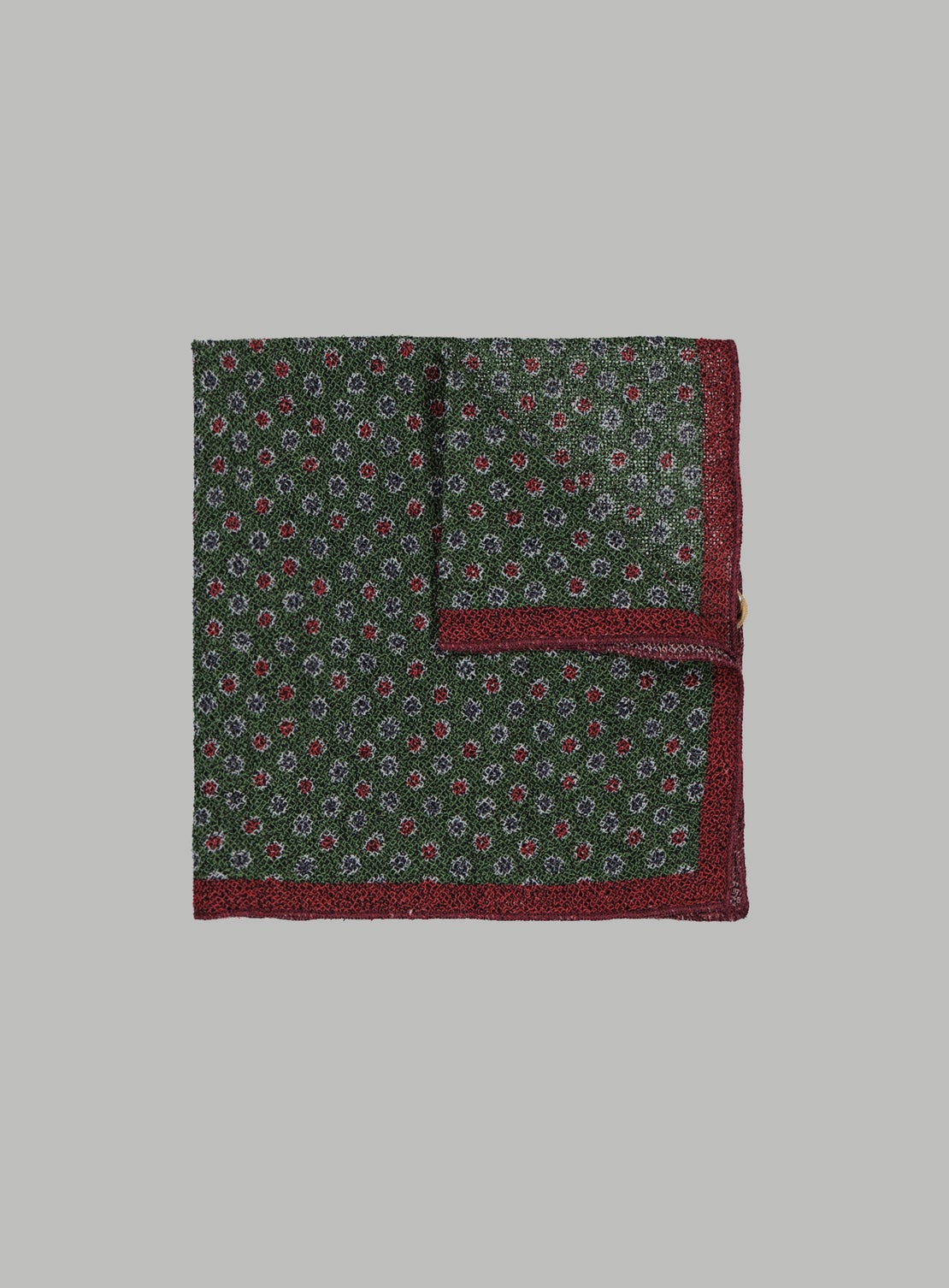 Green With Multi Coloured Dots Pocket Square