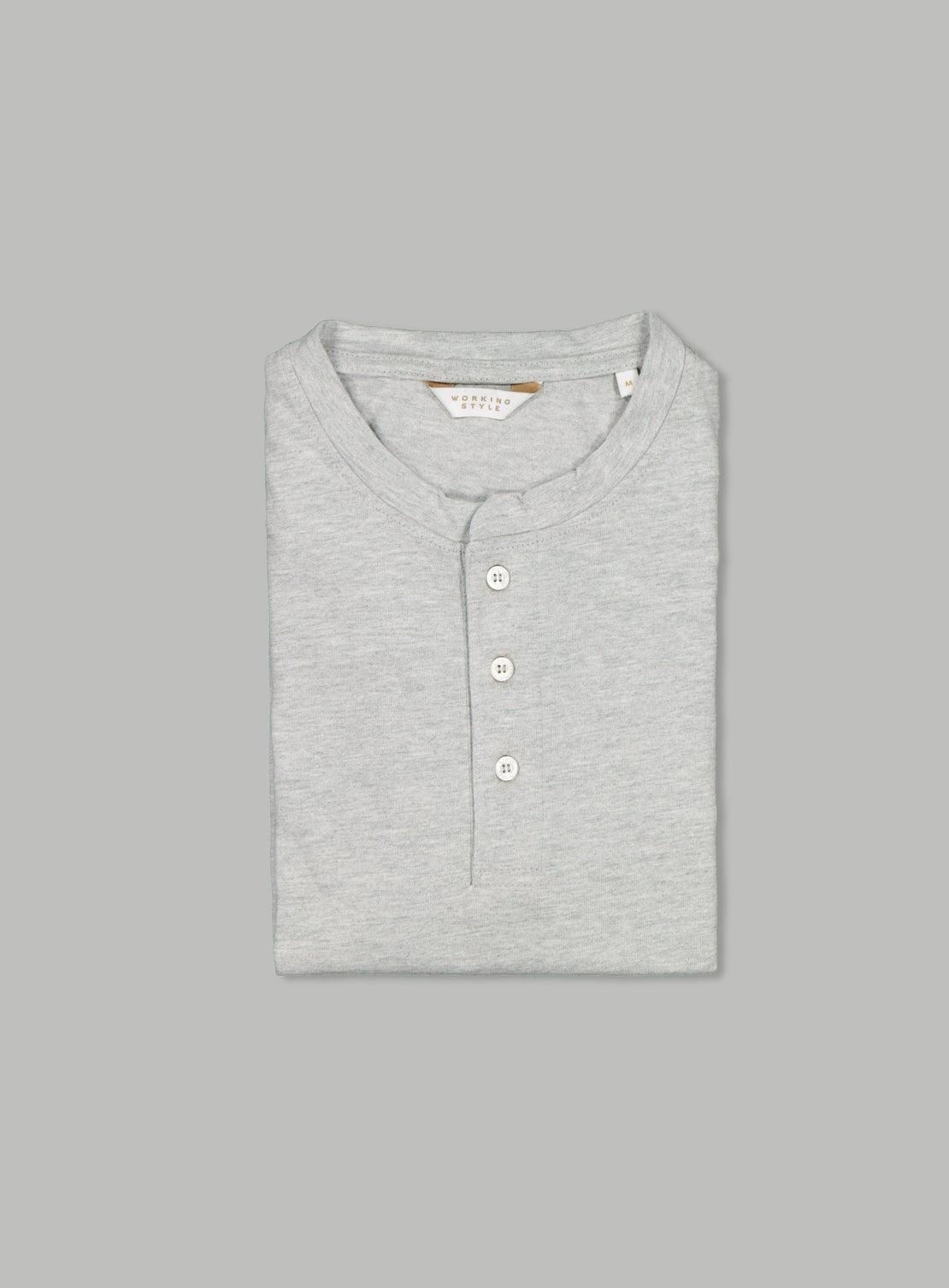 Grey Marle Henley Long Sleeve