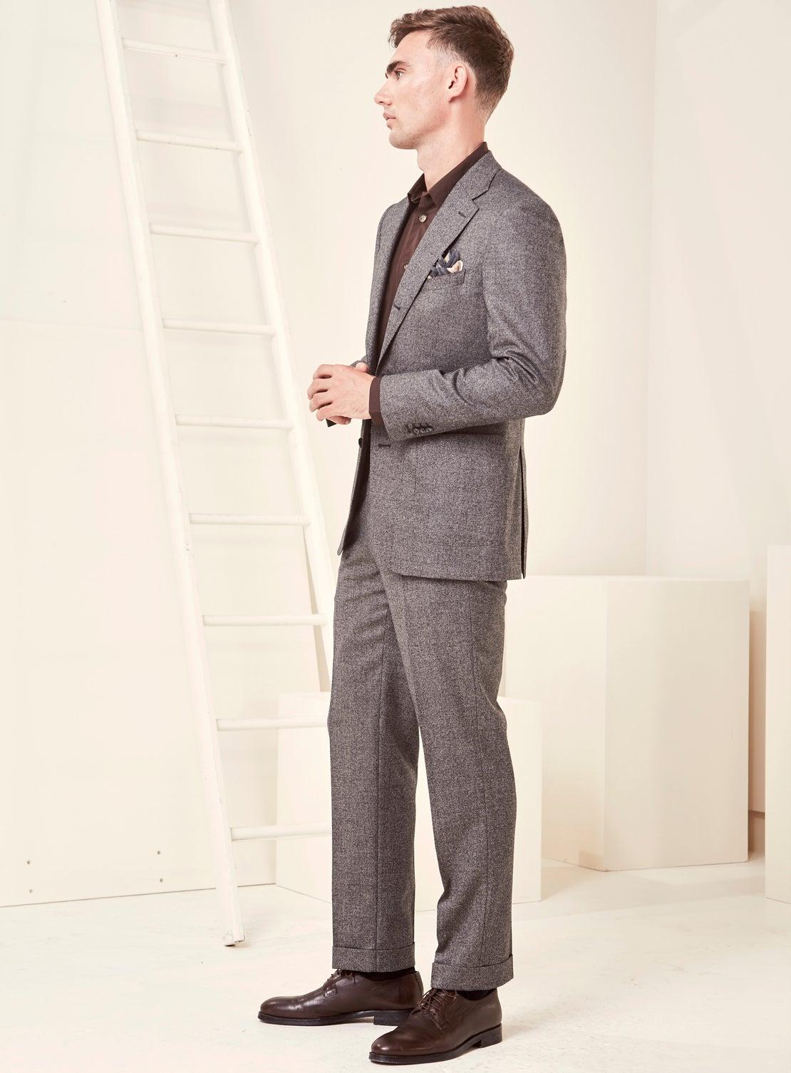 Grey Mottled Flannel Suit