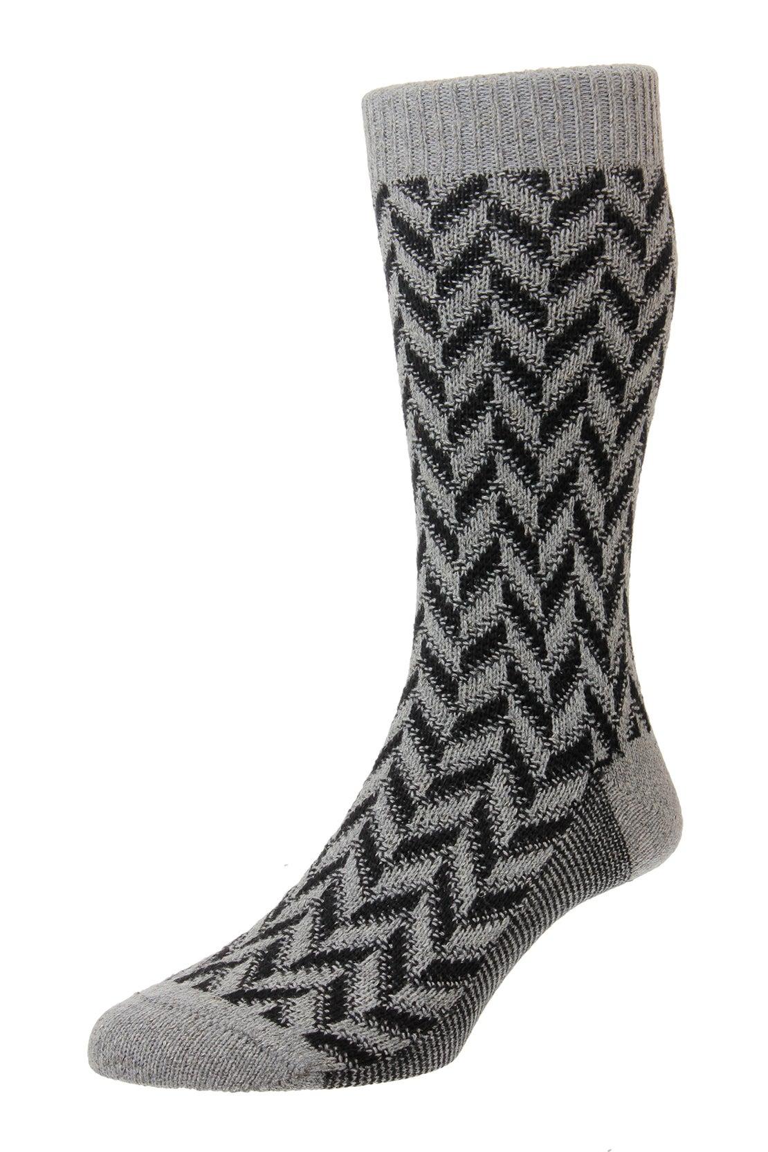 Grey Offset Herringbone Socks