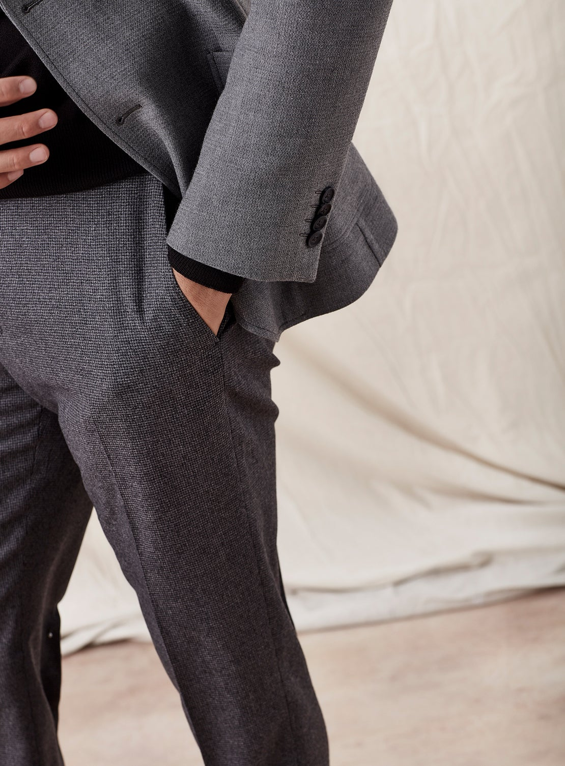 Grey Puppytooth Flannel Dress Trousers