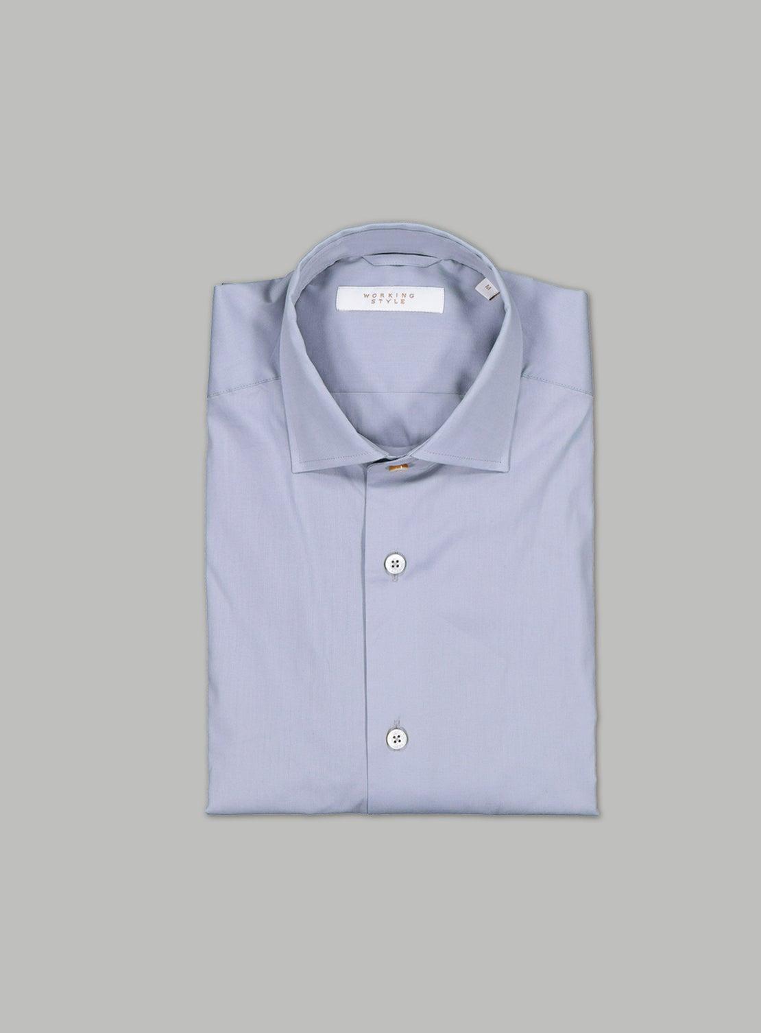Grey Stretch Poplin Shirt
