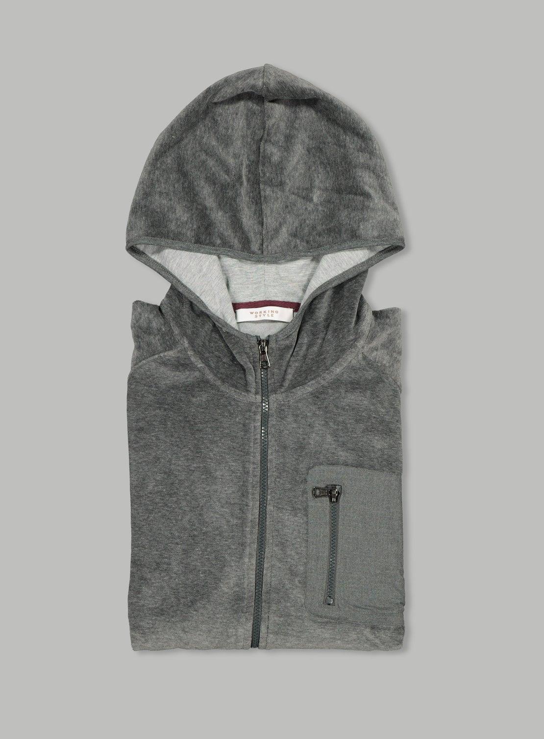 Grey Velour Zip Hoodie