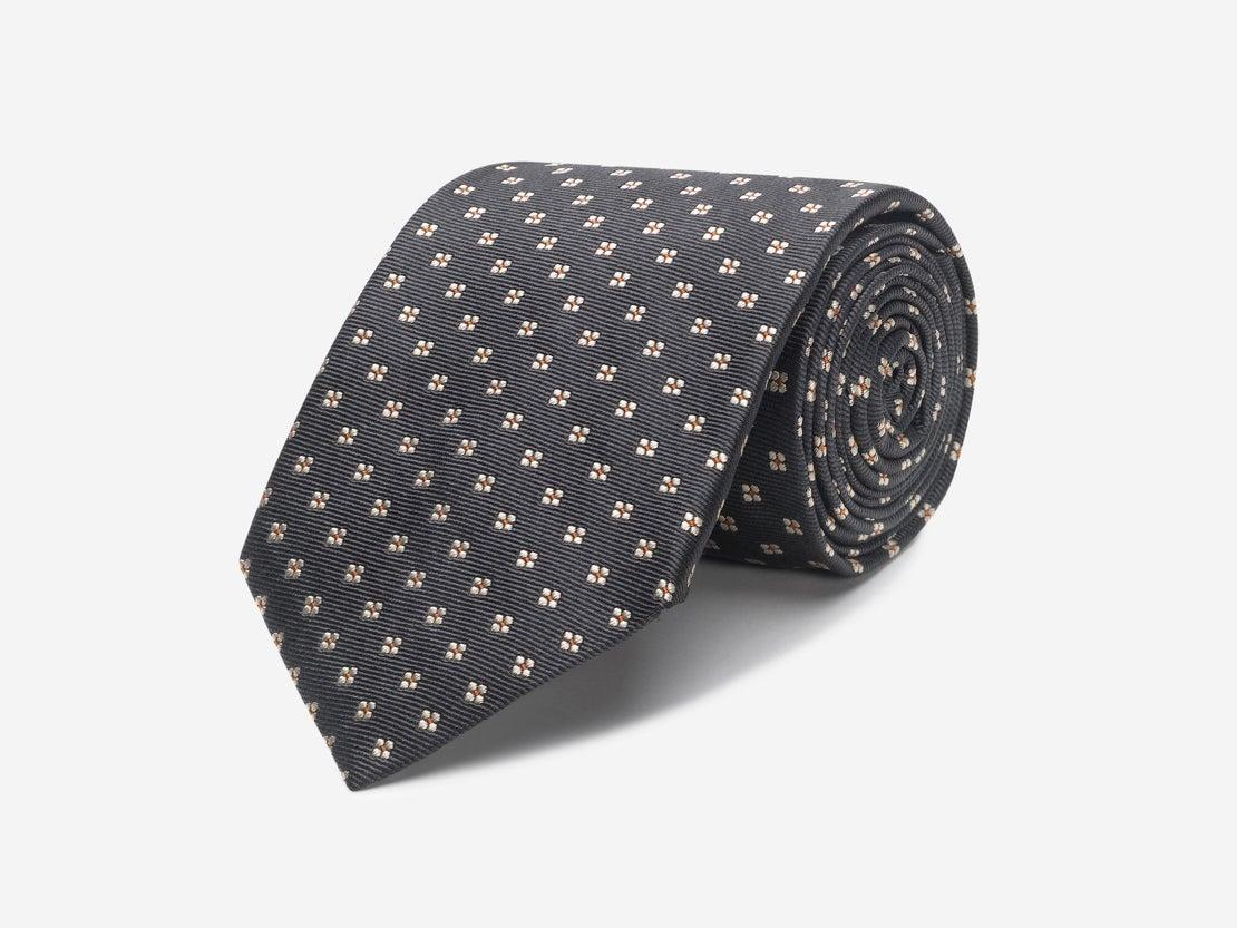 Gunmetal & Peach Floral Tie