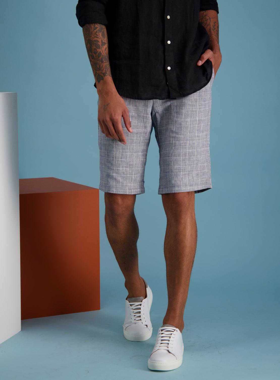 Hogan Navy Check Side Adjuster Shorts