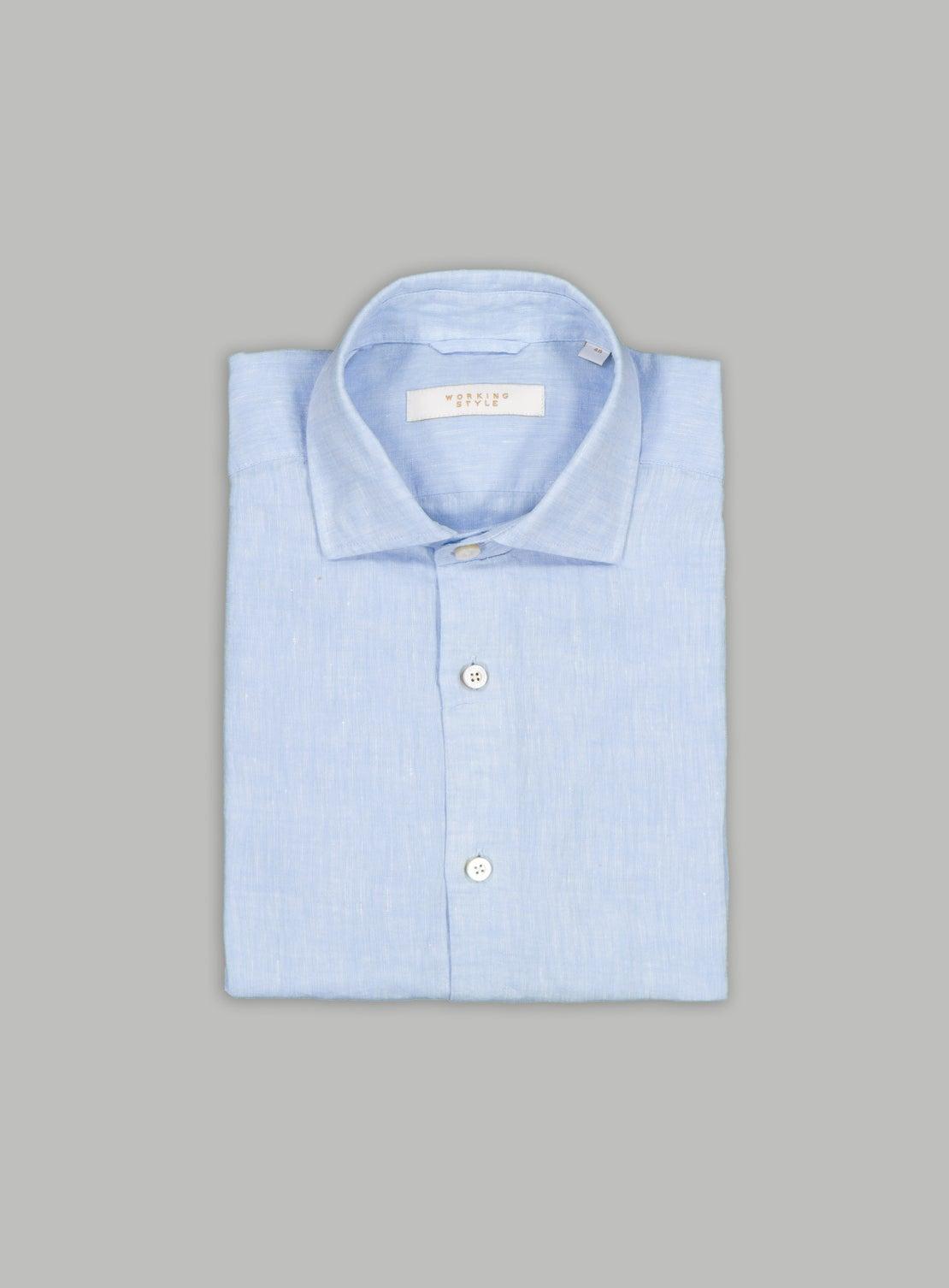Ice Blue Linen Shirt