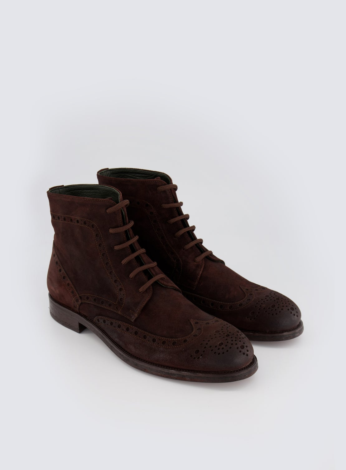 Johnson Brown Suede Lace Up Boot
