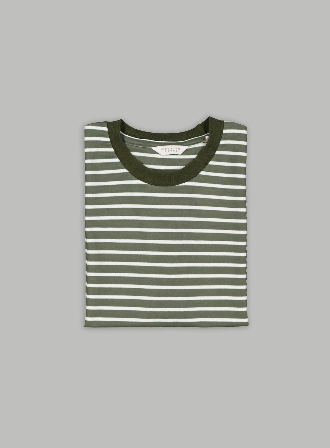 Khaki/White Stripe T-Shirt