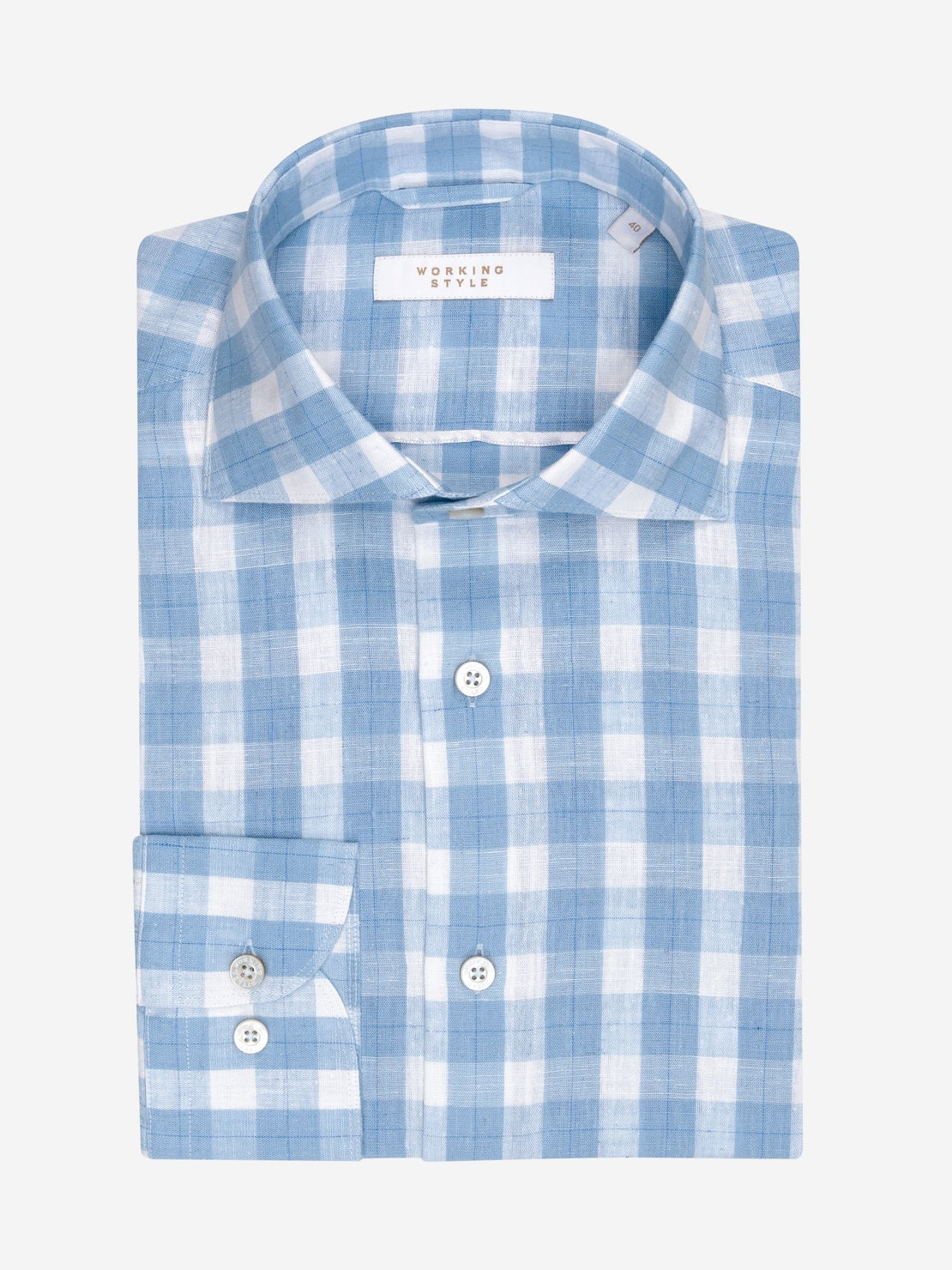Large Baby Blue Gingham Linen Shirt