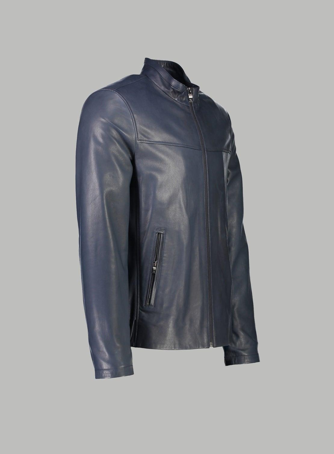 Leon Blue Leather Bomber Jacket