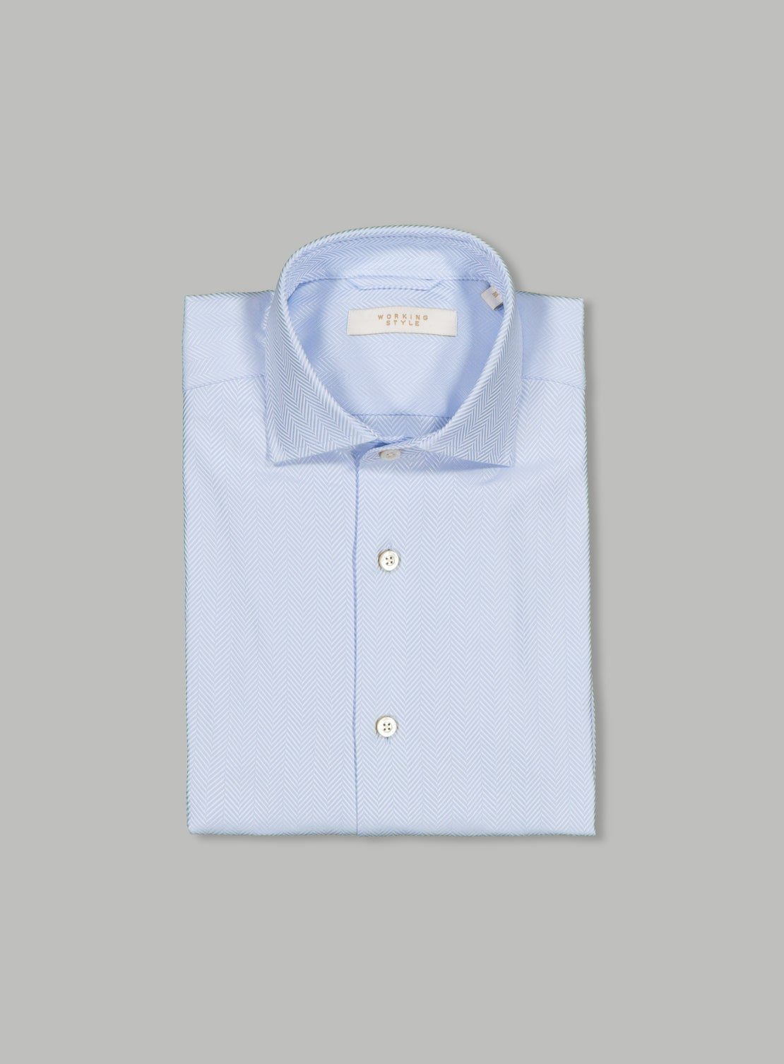 Luxe Light Blue Herringbone Shirt