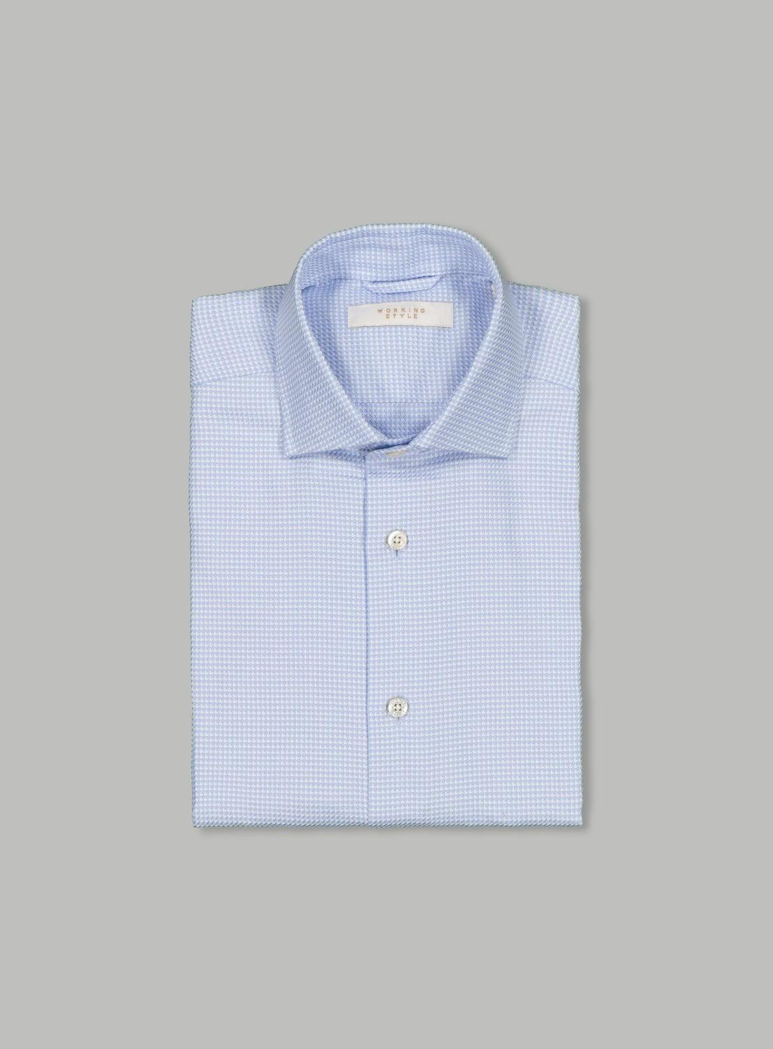 Luxe Light Blue Houndstooth Shirt