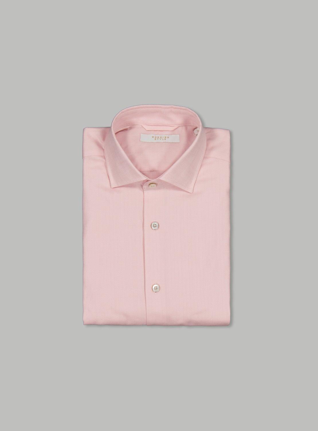Luxe Pink Herringbone Twill Shirt