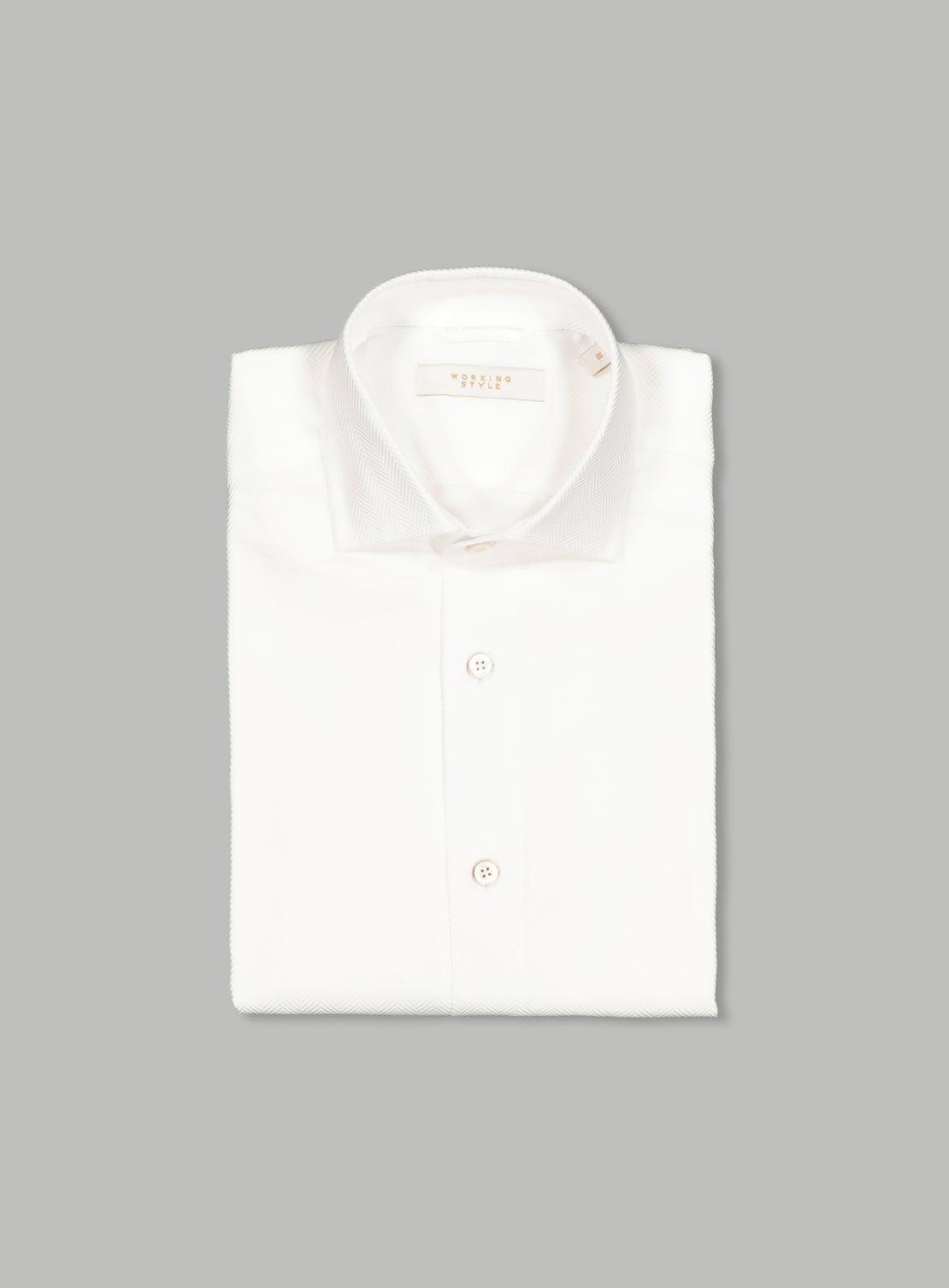 Luxe White Herringbone Shirt