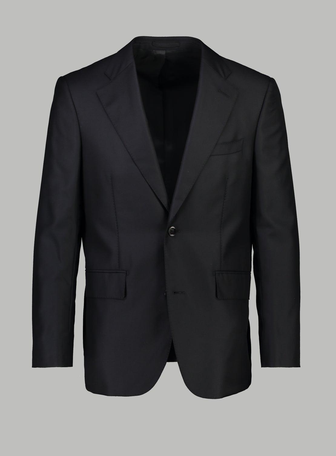 Luxury Silk/Wool Black Suit