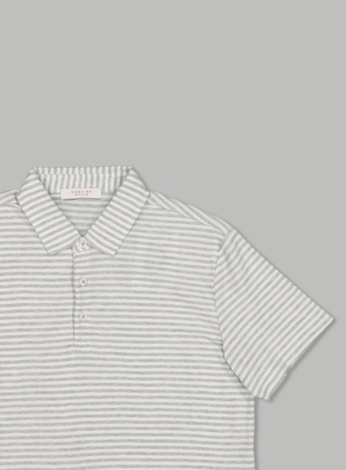 Marl Grey Stripe Polo