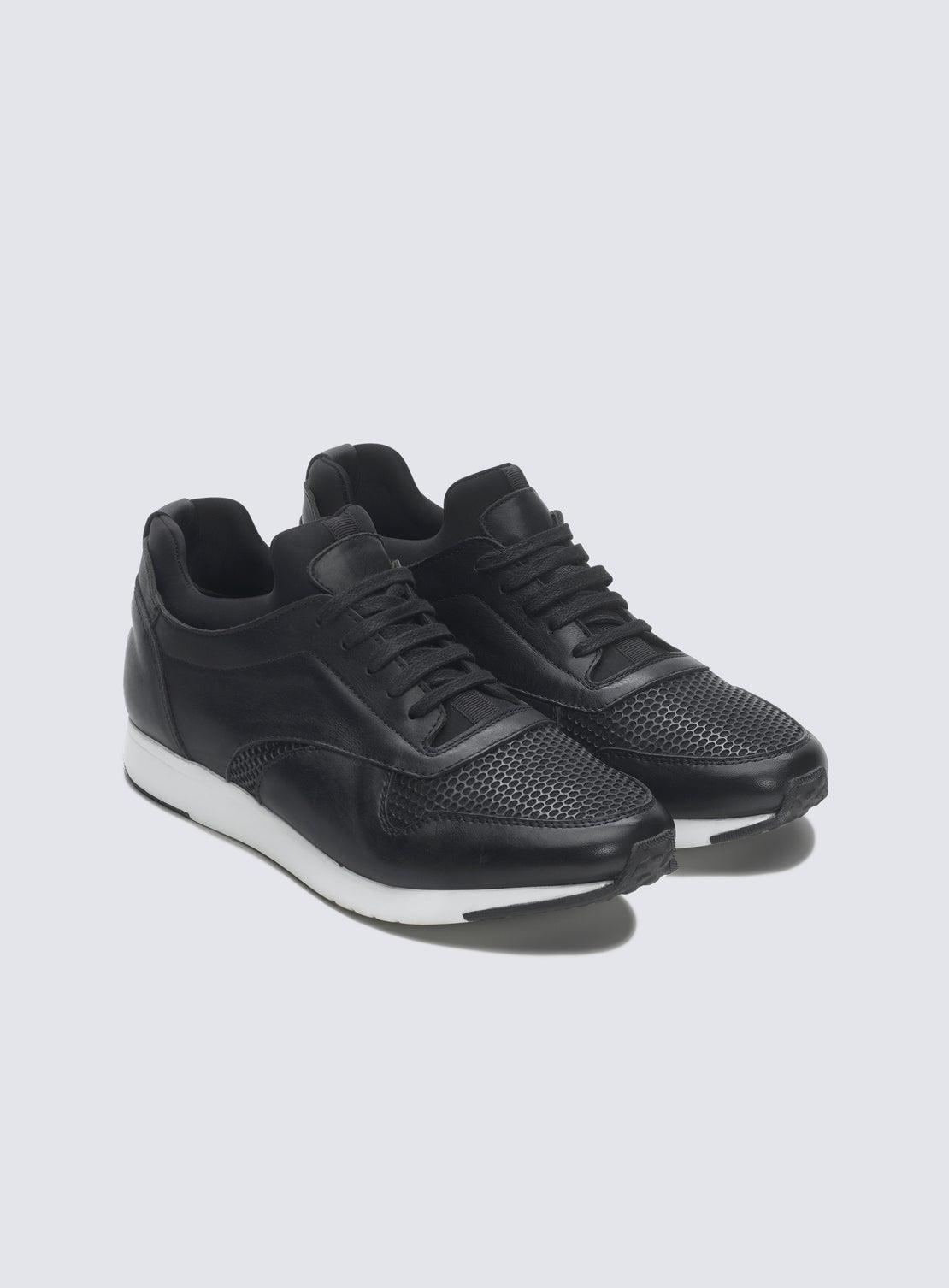 Marr Black Leather Running Sneaker