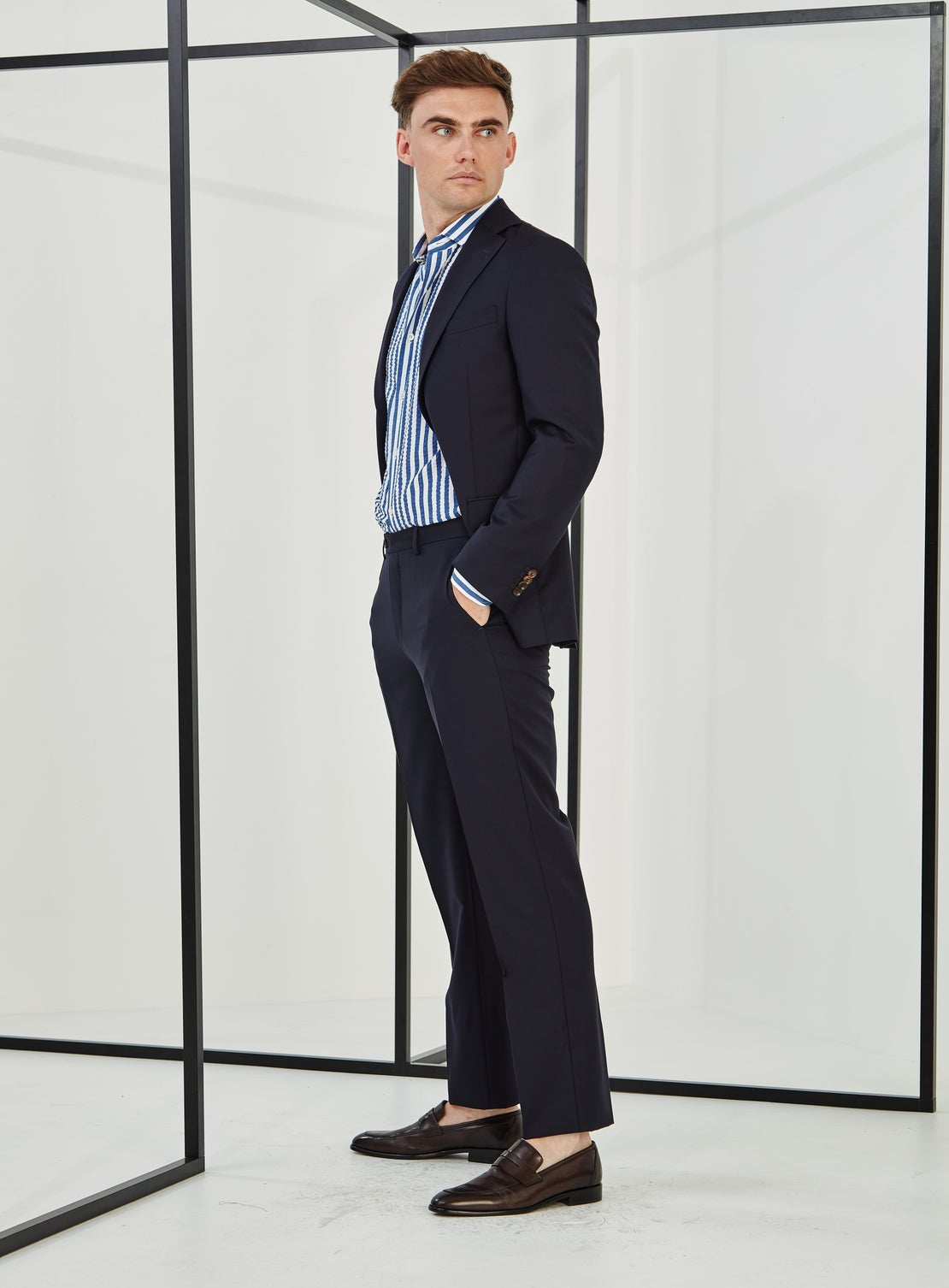 Mats Navy Texture Suit