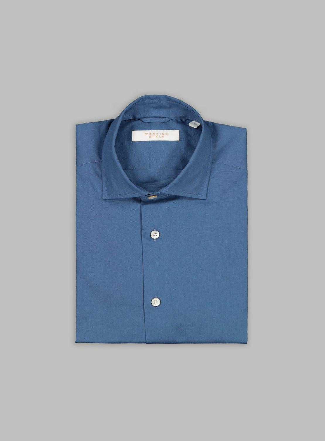 Mid Blue Poplin Stretch Shirt