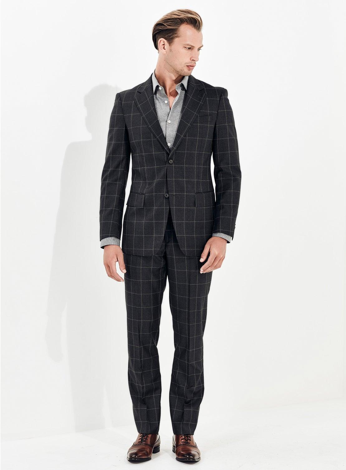 Mid Grey Windowpane Check Suit