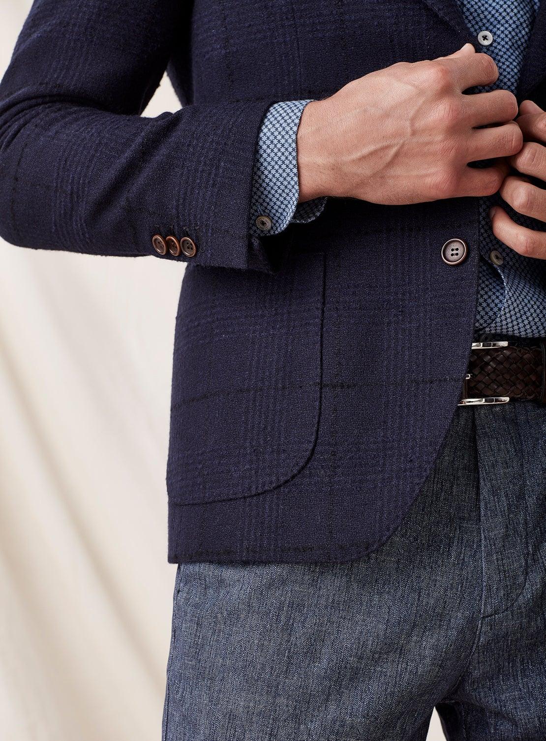 Navy Boiled Wool Check Jacket