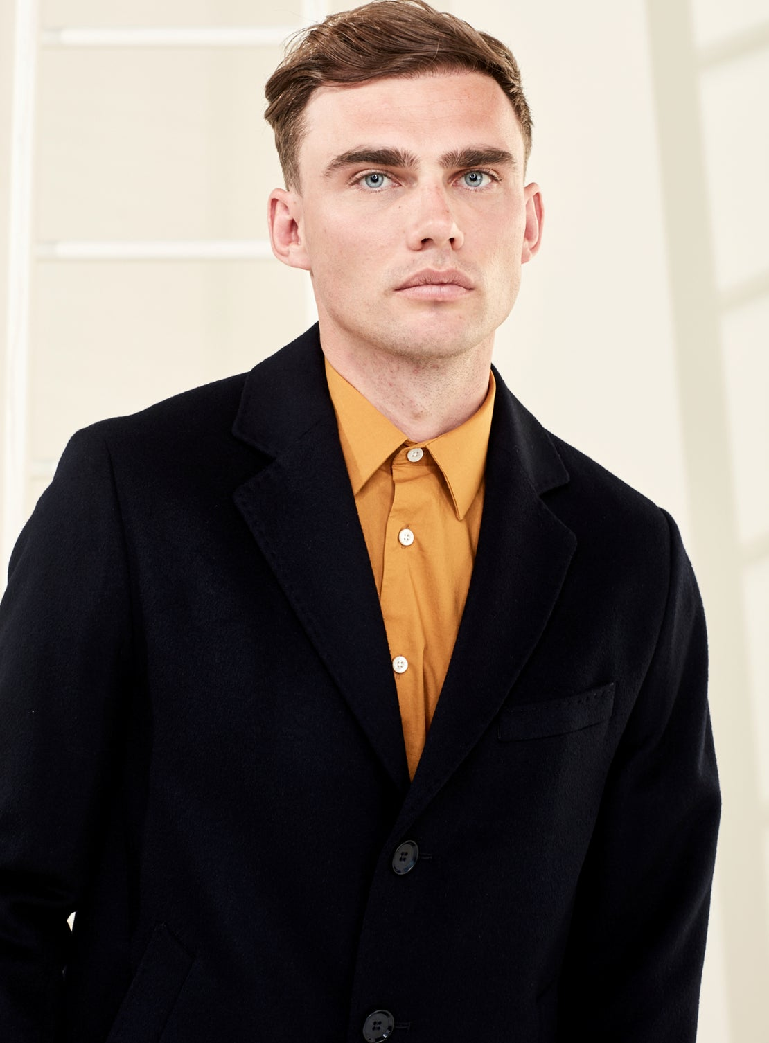 Navy Classic Mid Length Overcoat
