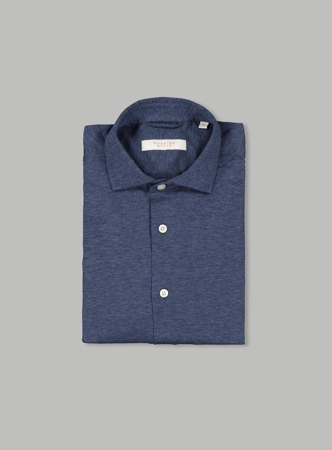 Navy Fleck Knit Shirt