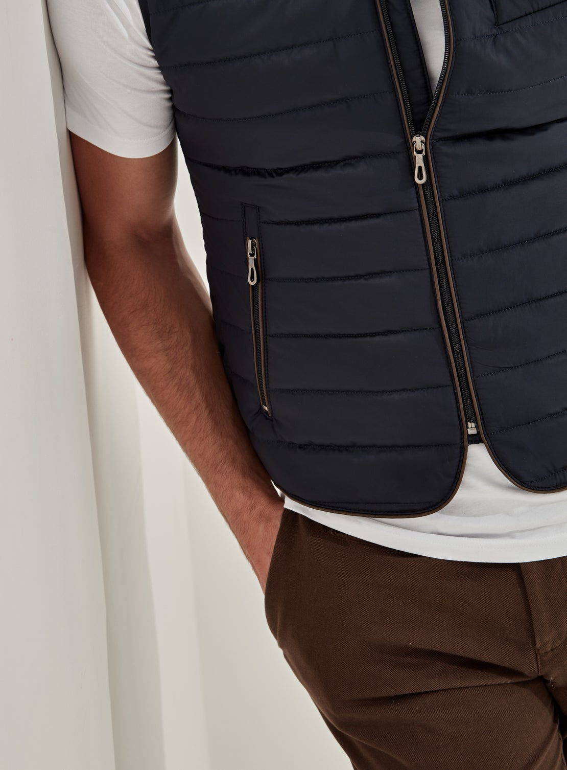 Navy Light Quilted Gilet