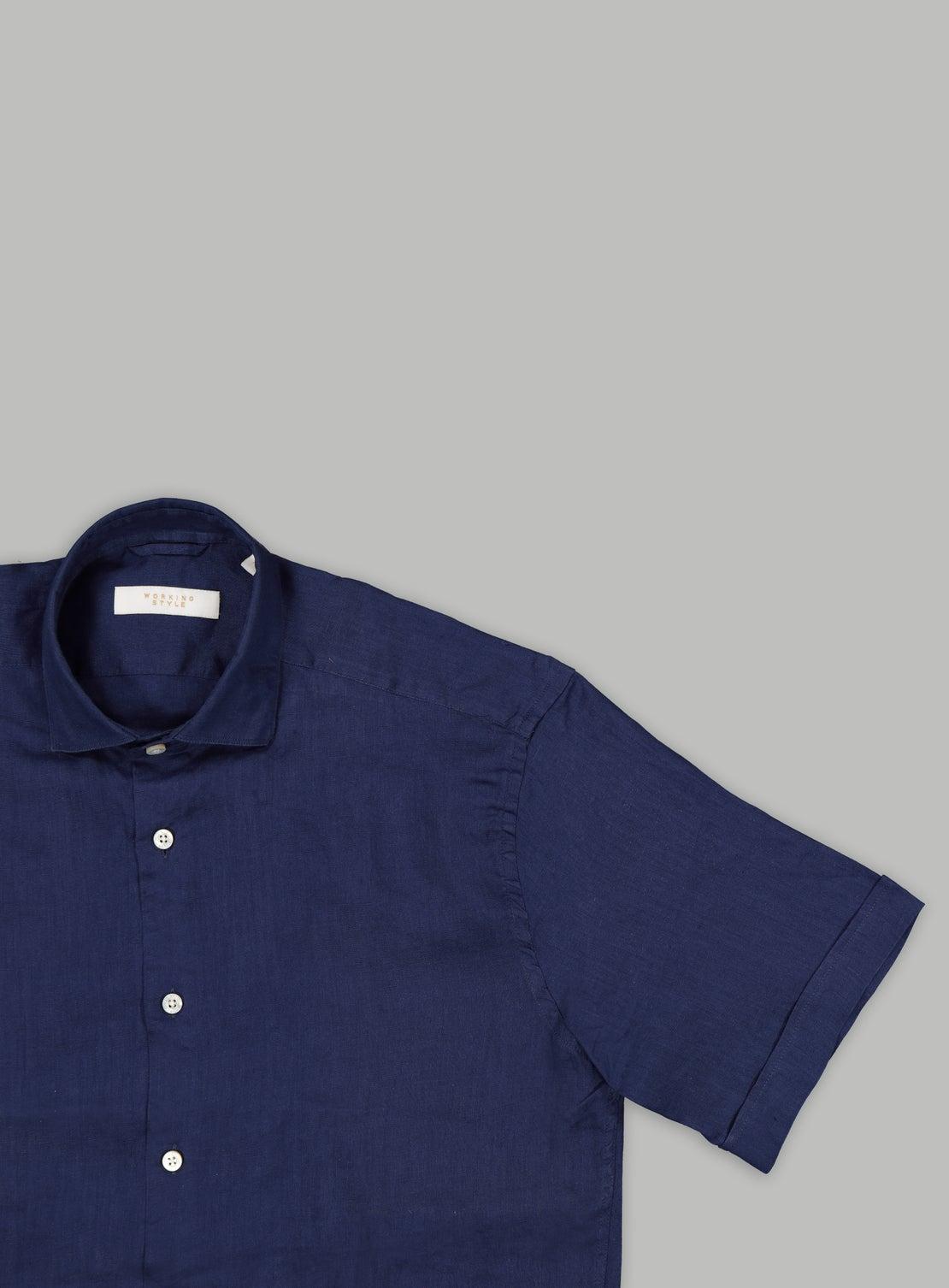 Navy Linen Short Sleeve Shirt
