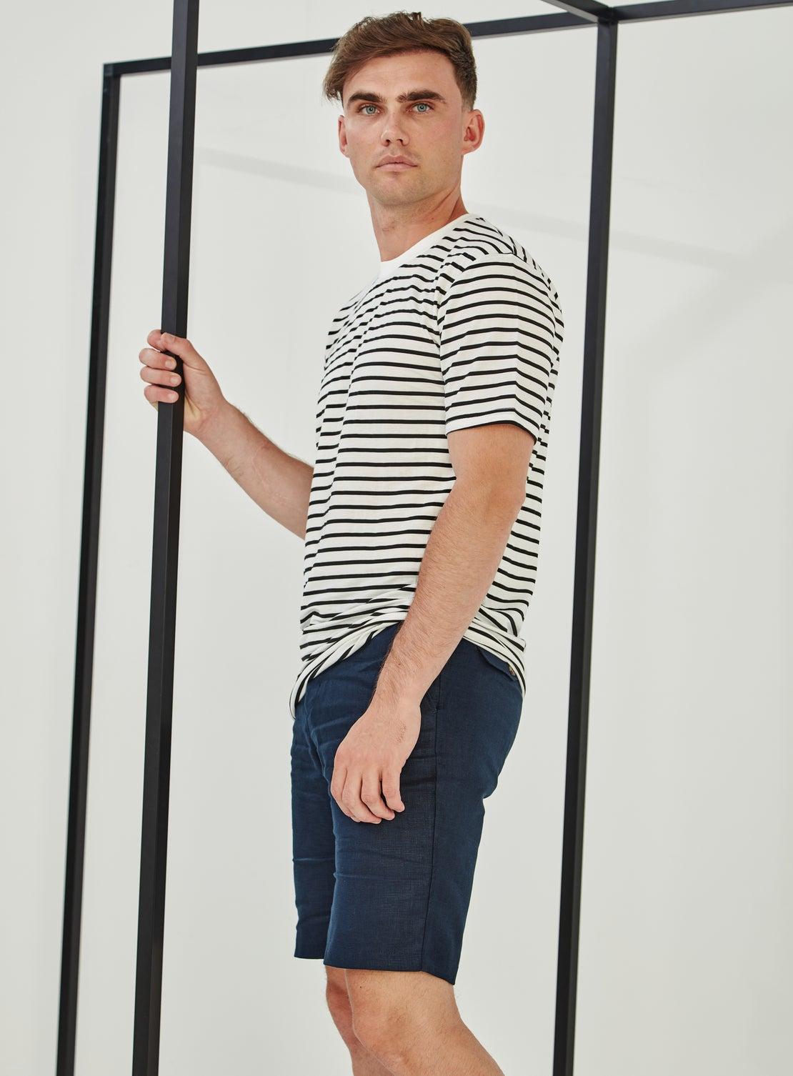 Navy Linen Side Adjuster Shorts