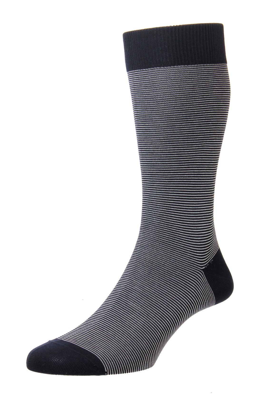Navy Micro Stripe Socks