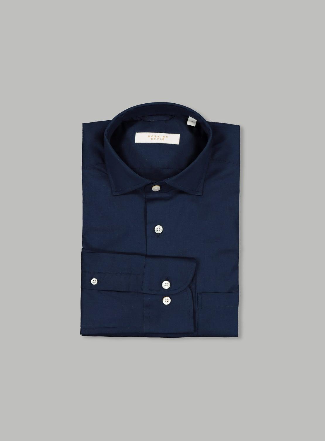 Navy Poplin Stretch Shirt