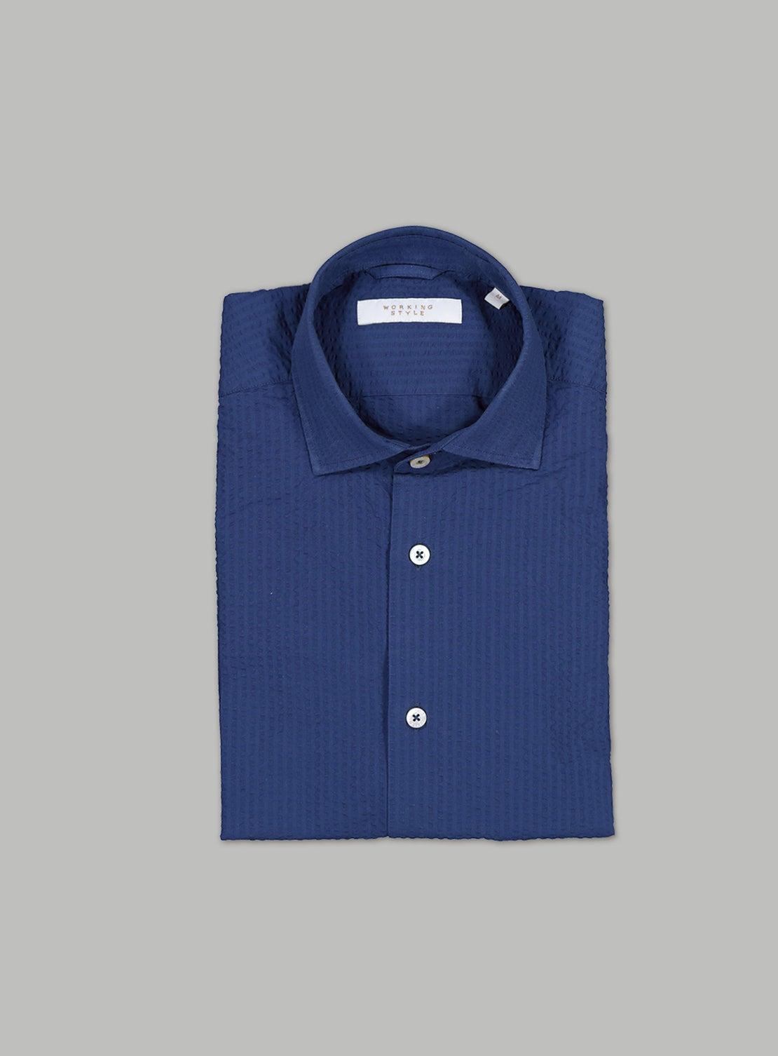 Navy Seersucker Self Stripe Shirt