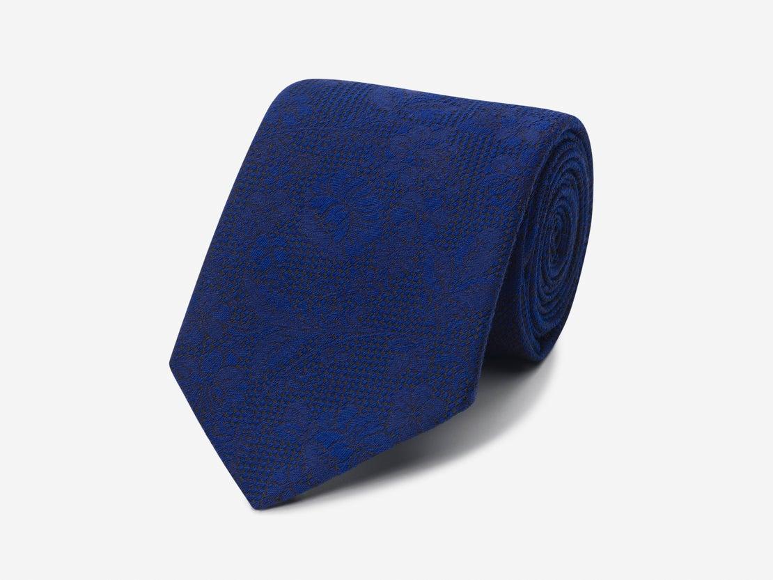 Navy Self Floral Tie