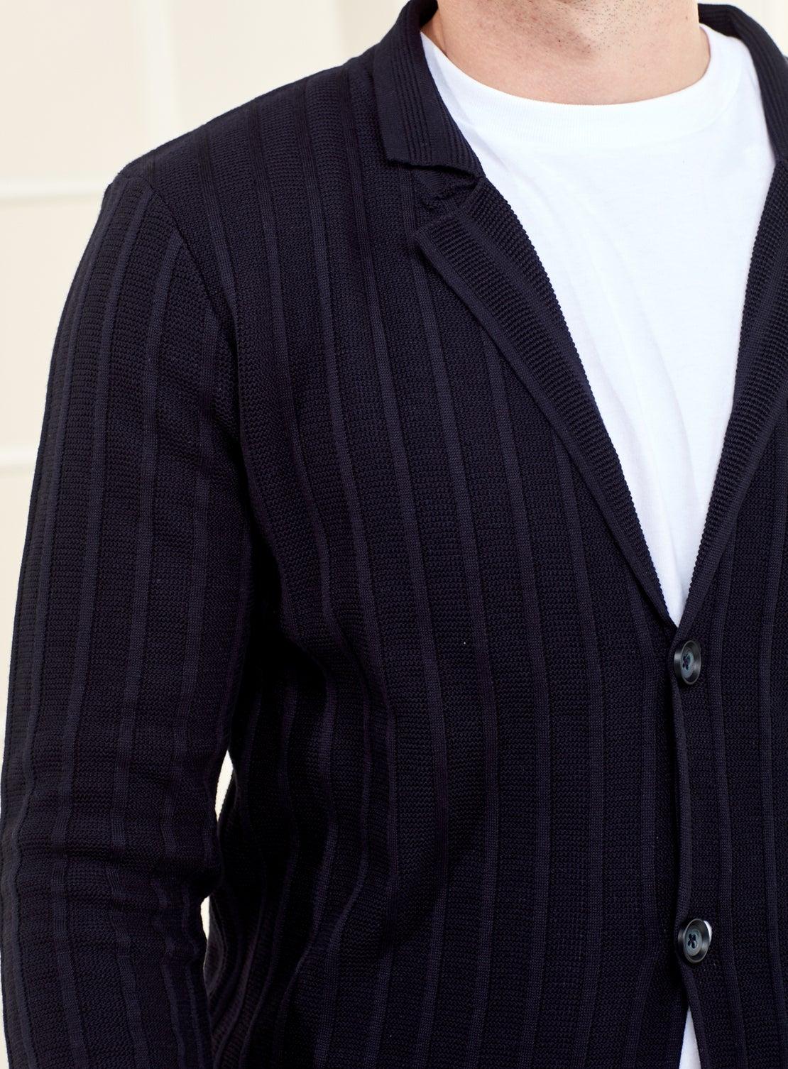 Navy Self Stripe Knitted Jacket