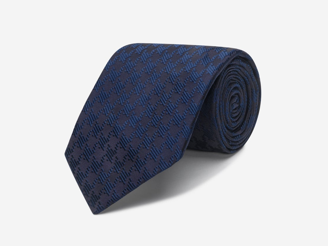 Navy & Teal Dogtooth Tie