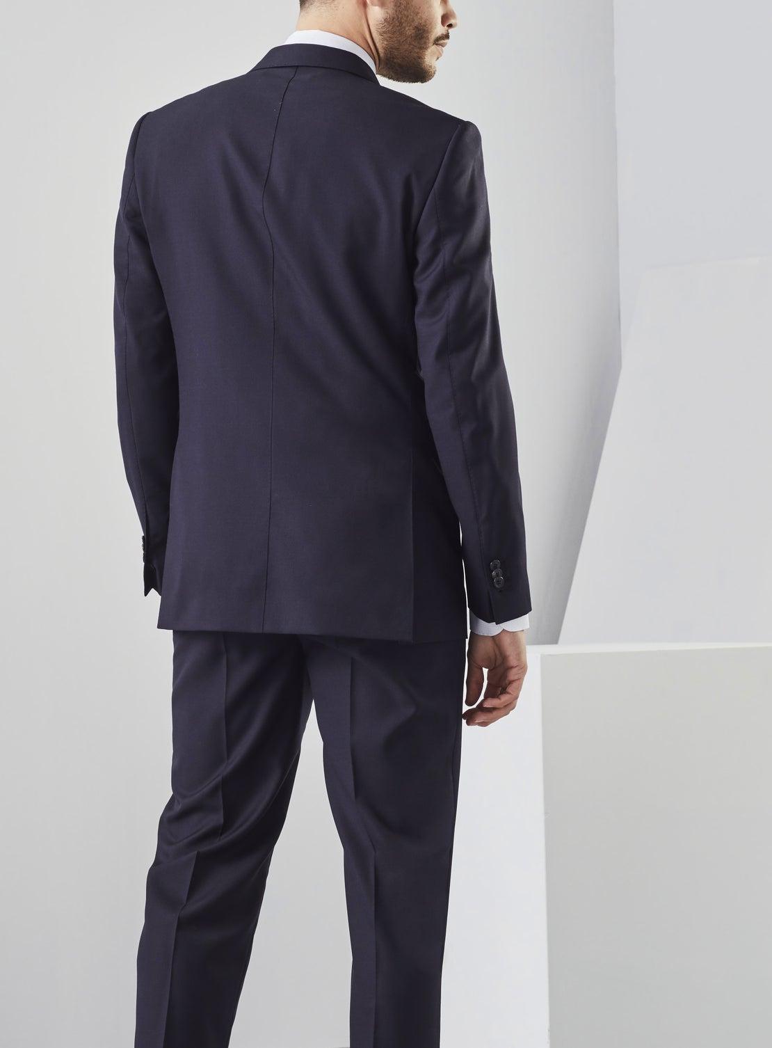 Navy Textured Suit Jacket